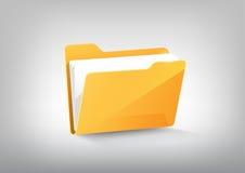 Icona gialla del repertorio della cartella di file del documento sul vettore grigio e trasparente bianco illustrazione di stock
