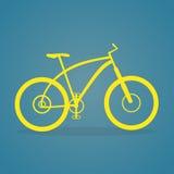 Icona gialla della bici Fotografia Stock