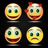 Icona gialla felice di amore di sorriso di sorriso stabilito, vettore Fotografia Stock Libera da Diritti