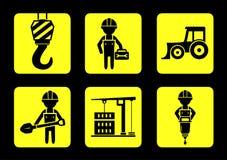 Icona gialla stabilita della costruzione su stile piano di progettazione Immagini Stock