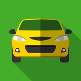 Icona gialla variopinta dell'automobile del taxi nello stile piano moderno con ombra lunga Parti dell'automobile Immagine Stock Libera da Diritti