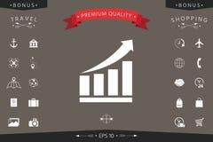 Icona grafica crescente delle barre con la freccia in aumento Immagini Stock
