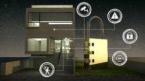 Icona grafica di informazioni di sicurezza di IoT sulla casa astuta, elettrodomestici astuti, Internet delle cose notte