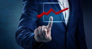 Icona grafica virtuale commovente della mano dell'uomo d'affari Immagine Stock Libera da Diritti