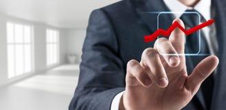 Icona grafica virtuale commovente della mano dell'uomo d'affari rappresentazione 3d Fotografia Stock Libera da Diritti