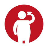 Icona grassa degli alimenti a rapida preparazione della siluetta dell'uomo Immagini Stock