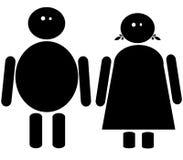 Icona grassa della femmina e del maschio Fotografie Stock Libere da Diritti
