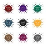 Icona grigia del virus nello stile nero isolata su fondo bianco Virus ed illustrazione di vettore delle azione di simbolo di bact royalty illustrazione gratis