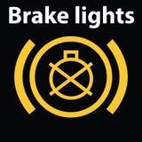 Icona illuminata semplice del cruscotto dell'automobile di guasto della luce dei freni Icona d'avvertimento del cruscotto, codice Immagine Stock Libera da Diritti