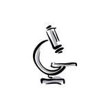 Icona illustrata del microscopio di vettore, attrezzatura medica Immagini Stock