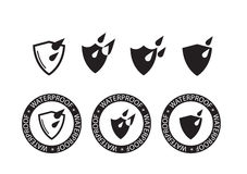 Icona impermeabile, icona di protezione delle acque - vector l'illustrazione Immagini Stock Libere da Diritti