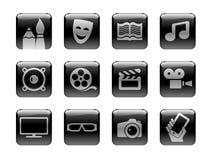 Icona impostata sul tema di media d'intrattenimento Fotografia Stock