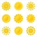 Icona-imposti del sole. Fotografia Stock