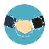 Icona incatenata della stretta di mano Fotografie Stock Libere da Diritti