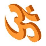 Icona indù di simbolo del OM, stile isometrico 3d Fotografie Stock