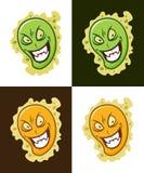 Icona insidiosa del virus Mascotte pazza di vettore del microbo illustrazione vettoriale