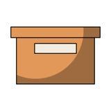icona isolata del contenitore di imballaggio dell'ufficio Fotografie Stock