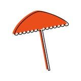 icona isolata dell'ombrello di spiaggia Immagini Stock Libere da Diritti