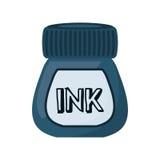 Icona isolata della bottiglia di inchiostro Fotografia Stock