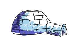 Icona isolata disegnata a mano dell'iglù eschimese Fotografia Stock Libera da Diritti
