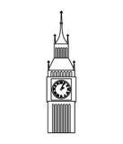 icona isolata orologio di Big Ben Fotografie Stock Libere da Diritti