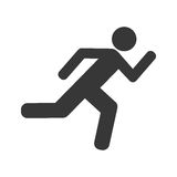 Icona isolata siluetta corrente dell'atleta Immagini Stock