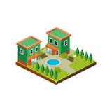 Icona isometrica che rappresenta casa moderna con il cortile Fotografie Stock Libere da Diritti