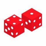 Icona isometrica 3d dei dadi rossi Fotografia Stock