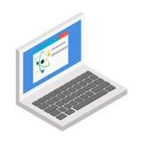 Icona isometrica 3d del computer portatile Fotografia Stock