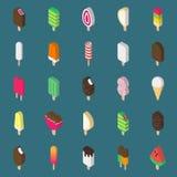 Icona isometrica del gelato su fondo scuro Immagine Stock Libera da Diritti