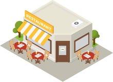 Icona isometrica della costruzione del caffè del ristorante di vettore Immagini Stock Libere da Diritti