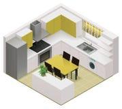Icona isometrica della cucina di vettore Fotografie Stock