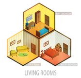 Icona isometrica delle stanze di vettore Immagine Stock Libera da Diritti