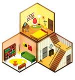 Icona isometrica delle stanze di vettore Fotografie Stock