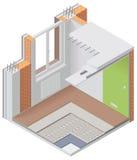 Icona isometrica dello spaccato dell'appartamento di vettore Immagini Stock Libere da Diritti