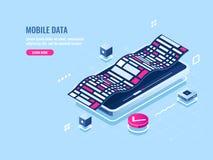 Icona isometrica di programmazione del software mobile, applicazione di sviluppo del telefono cellulare, visualizzazione di dati  illustrazione di stock