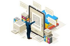 Icona isometrica di vettore online del manuale illustrazione di stock