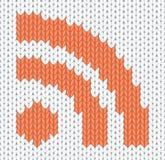 Icona lavorata a maglia di RSS Fotografie Stock