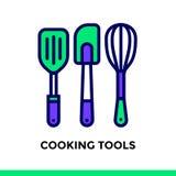 Icona lineare che CUCINA GLI STRUMENTI del forno, cucinanti Pittogramma in outli Immagini Stock