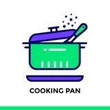 Icona lineare che cucina pentola del forno, cucinante Pittogramma nel profilo Fotografie Stock Libere da Diritti