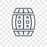 Icona lineare di grande del barilotto vettore di concetto isolata sulle sedere trasparenti illustrazione di stock