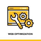 Icona lineare di ottimizzazione di web per giovane impresa Pittogramma nello stile del profilo Vector la linea piana l'icona adat Immagine Stock