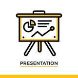Icona lineare di presentazione Pittogramma nello stile del profilo Vector l'elemento piano moderno di progettazione per l'applica Fotografia Stock Libera da Diritti
