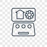 Icona lineare di vettore di concetto di automazione isolata sulle sedere trasparenti illustrazione vettoriale