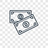 Icona lineare di vettore di concetto dei soldi isolata sul backgro trasparente illustrazione vettoriale
