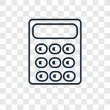Icona lineare di vettore di concetto del calcolatore sulle sedere trasparenti illustrazione di stock