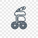 Icona lineare di vettore di concetto del carretto dell'alimento isolata sul BAC trasparente royalty illustrazione gratis
