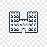 Icona lineare di vettore di concetto del castello della sabbia isolata sulla b trasparente royalty illustrazione gratis