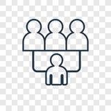 Icona lineare di vettore di concetto del gruppo isolata sul backgro trasparente illustrazione di stock