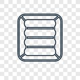 Icona lineare di vettore di concetto del materasso di aria isolata su trasparente illustrazione di stock